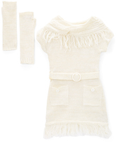 Dollhouse White Sweater Dress & Fingerless Gloves - Toddler