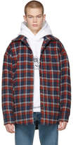 Balenciaga Red Oversized Plaid Flannel Shirt