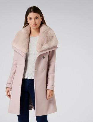 Forever New Alex Faux Fur Collar Coat - Dusty Nude - 4
