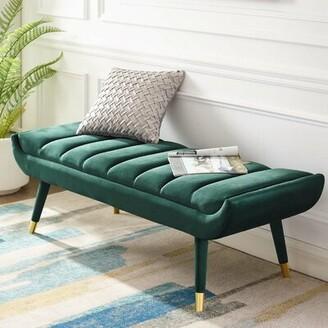 Mercer41 Mackay Upholstered Bench Upholstery: Green