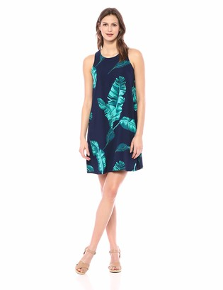 28 Palms Women's Tropical Hawaiian Print Lightweight Sleeveless Shift Dress