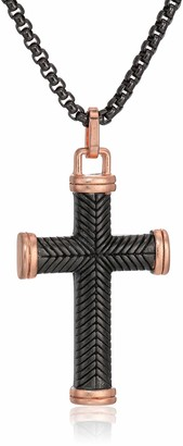 "Steve Madden Men's 18"" Textured Design Cross Pendant Necklace With Box Chain in Two-Tone Stainless Steel"