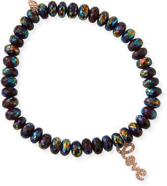 Sydney Evan 14k Rose Gold Garnet & Diamond Love Script Bracelet