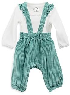 Oliver & Rain Girls' Organic Cotton Long Sleeve Bodysuit & Corduroy Overalls Set - Baby