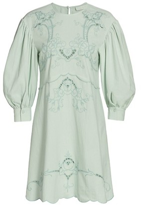 See by Chloe Lace Eyelet Puff-Sleeve A-Line Dress