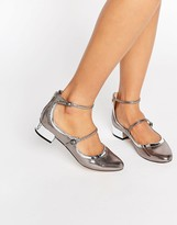 Aldo Ambrosea Pewter Strap Flat Shoes