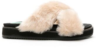 Blue Bird Shoes Fluffy slide sandals