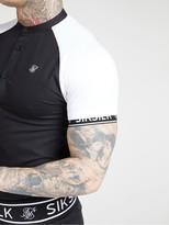 SikSilk Short Sleeved Oxford Raglan Shirt - Black/White