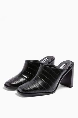 Topshop CONSIDERED GARDA Vegan Black Croc Mules