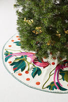 Anthropologie Embroidered Pheasant Tree Skirt