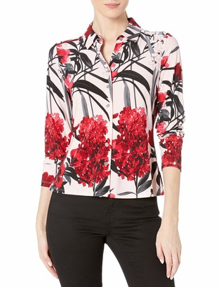 Tommy Hilfiger Women's Floral Collared Button Down Longsleeve Top