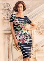 Kaleidoscope Floral Print Stripe Scuba Dress