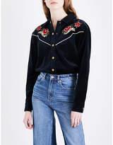 Mo&Co. Floral-embroidered velvet shirt