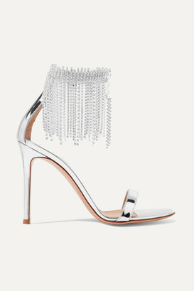 Gianvito Rossi 100 Crystal-embellished Metallic Leather Sandals - Silver