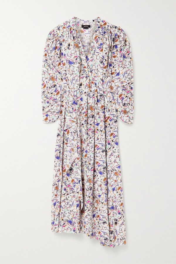Thumbnail for your product : Isabel Marant Blainea Pleated Printed Silk-blend Crepe De Chine Maxi Dress - Pink