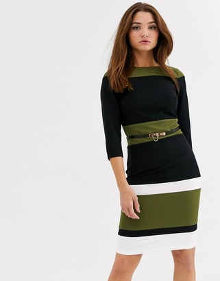 Paper Dolls stripe belted midi dress in olive and black