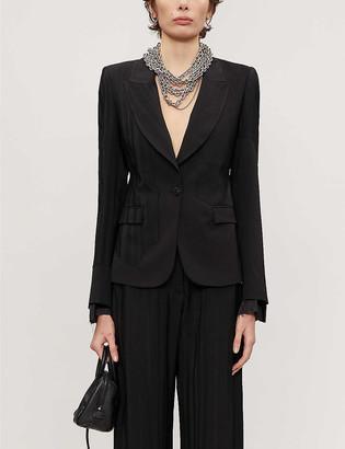 Isabel Benenato Patchwork single-breasted wool blazer