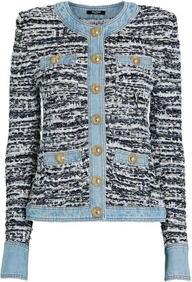 Balmain Denim-Trimmed Boucle Jacket