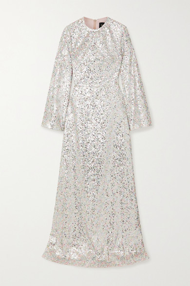 Rasario Iridescent Sequined Tulle Gown - Silver