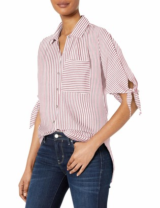 William Rast Women's Willliam Clapton Woven Top with Ties On Sleeves
