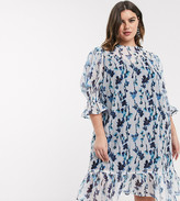 Lost Ink Plus Lost Ink plus midi smock dress with volume sleeves and peplum hem in smudge floral print
