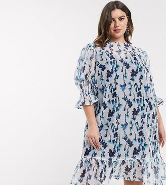 Lost Ink plus midi smock dress with volume sleeves and peplum hem in smudge floral print