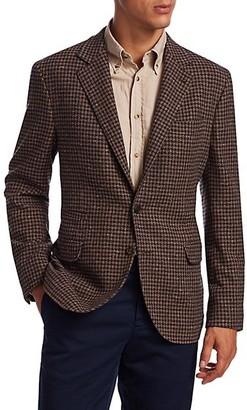 Brunello Cucinelli Wool Cashmere Houndstooth Sportcoat