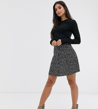 Asos DESIGN Petite mono floral mini skirt with horn buttons