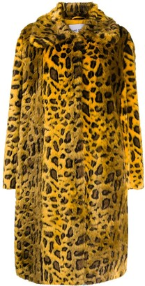 Stand Studio Leopard Print Faux Fur Coat