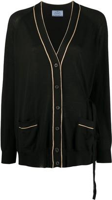 Prada Contrast Trim Belted Cardi-Coat