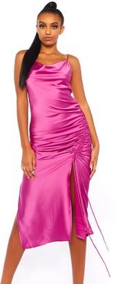 Public Desire Uk Cowl Neck Ruched Satin Dress
