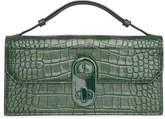 Christian Louboutin Elisa Baguette green creative leather clutch