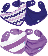 Bumkins Purple Chevron & Stripe Bandana Bib - Set of Four