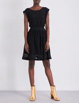 Sandro Geometric-lace and crepe mini dress