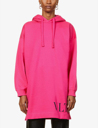 Valentino Branded cotton-blend sweatshirt mini dress