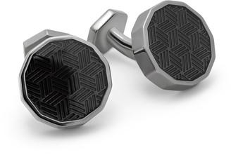 Tateossian Dodecagon Ice Cufflinks In Gunmetal & Black