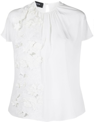 Rochas Floral Embroidered Silk Blouse