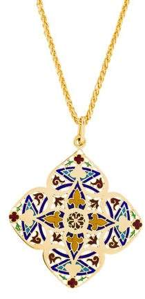 Chaumet 18K Enamel Pendant Necklace