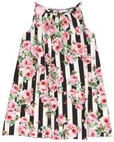 Dolce & Gabbana Stripes & Roses Cotton Poplin Dress