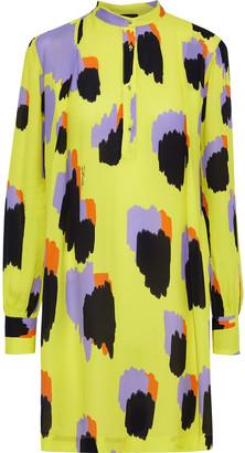 Just Cavalli Printed Crepe Mini Shirt Dress