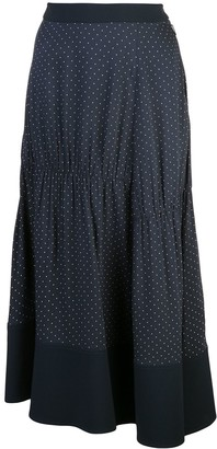Tibi Pindot Shirred Panel Skirt