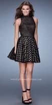 La Femme Mix Print Lace Homecoming Dress