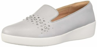 FitFlop Women's Audrey Pearl Stud Smoking Slippers Loafer Flat 8 M US