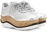 Miu Miu Patent Leather-trimmed Platform Sneakers