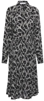 Equipment Julee Pleated Printed Silk Crepe De Chine Shirt Dress