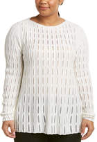 Lafayette 148 New York Plus Open Mesh Stitch Wool & Cashmere-Blend Sweater