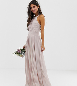 TFNC Petite bridesmaid exclusive pleated maxi dress in taupe