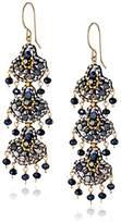 Miguel Ases Cobalt Streak 14k Gold-Filled Triple-Fan Drop Earrings
