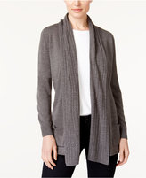 Karen Scott Petite Luxsoft Cable-Knit Open-Front Cardigan, Created for Macy's