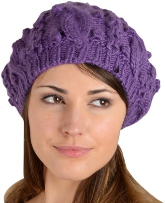 Pia Rossini Sierra Beret Hat Chunky Cable Knit Pom Pom Bobble Winter Accessory Lavender